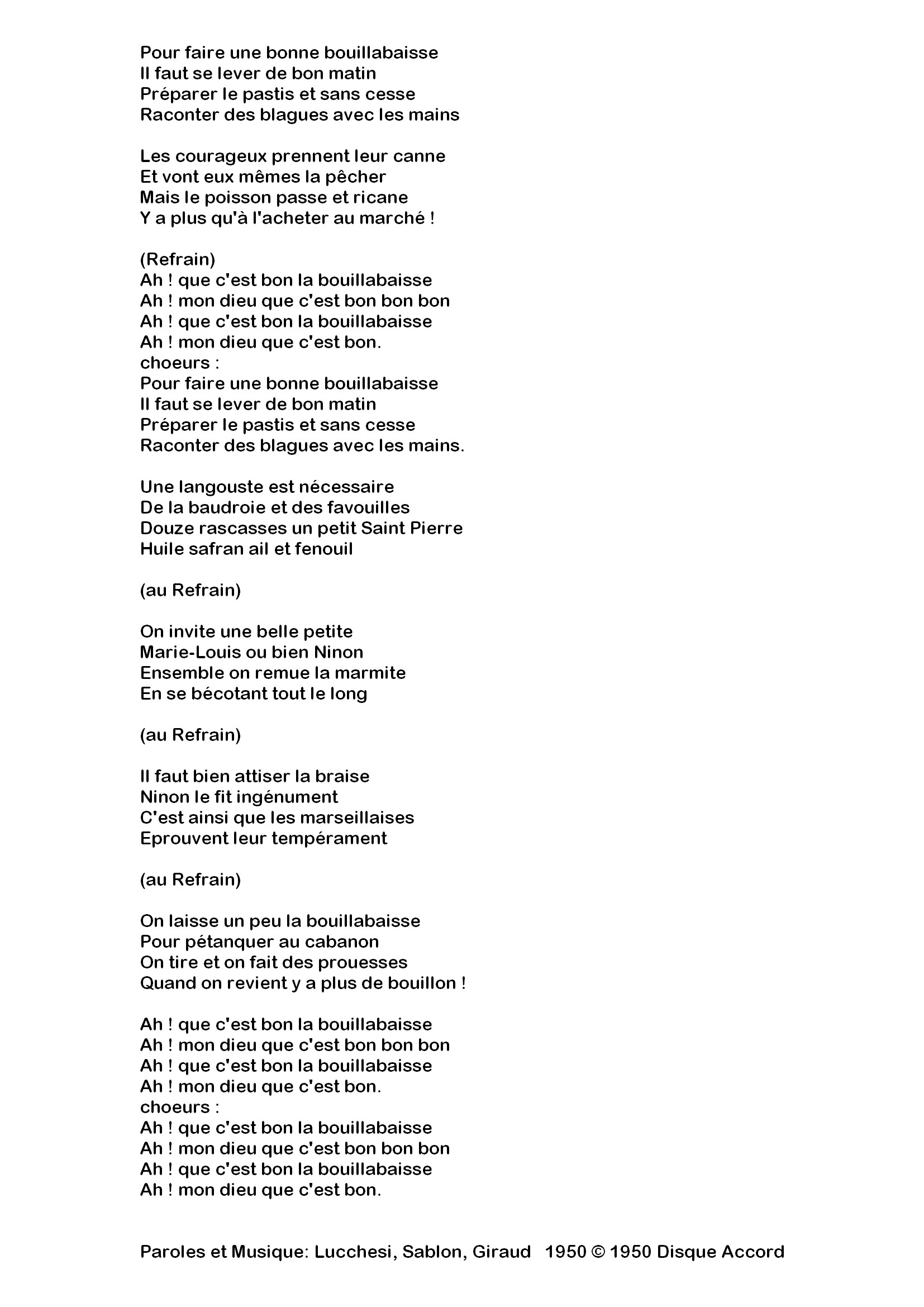 La Bouillabaisse..chanson De Fernandel
